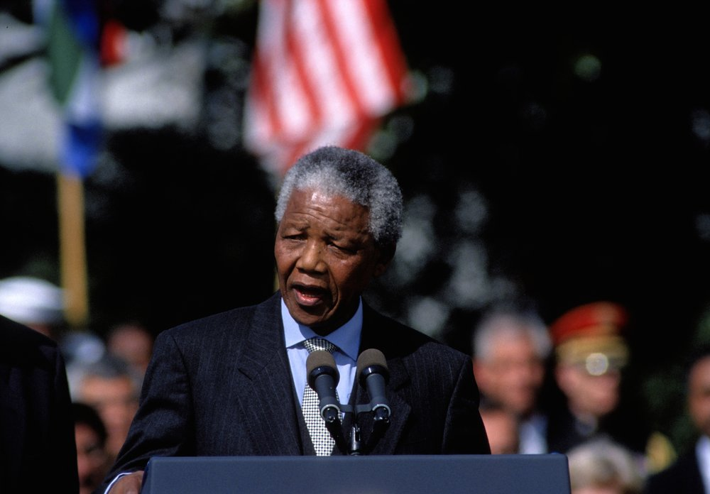 Washington, DC. USA, 4th October, 1994 President Nelson Mandela of South Africa delivers his speech during arrival ceremonies On the South Lawn at the White House. - Image(mark reinstein)s