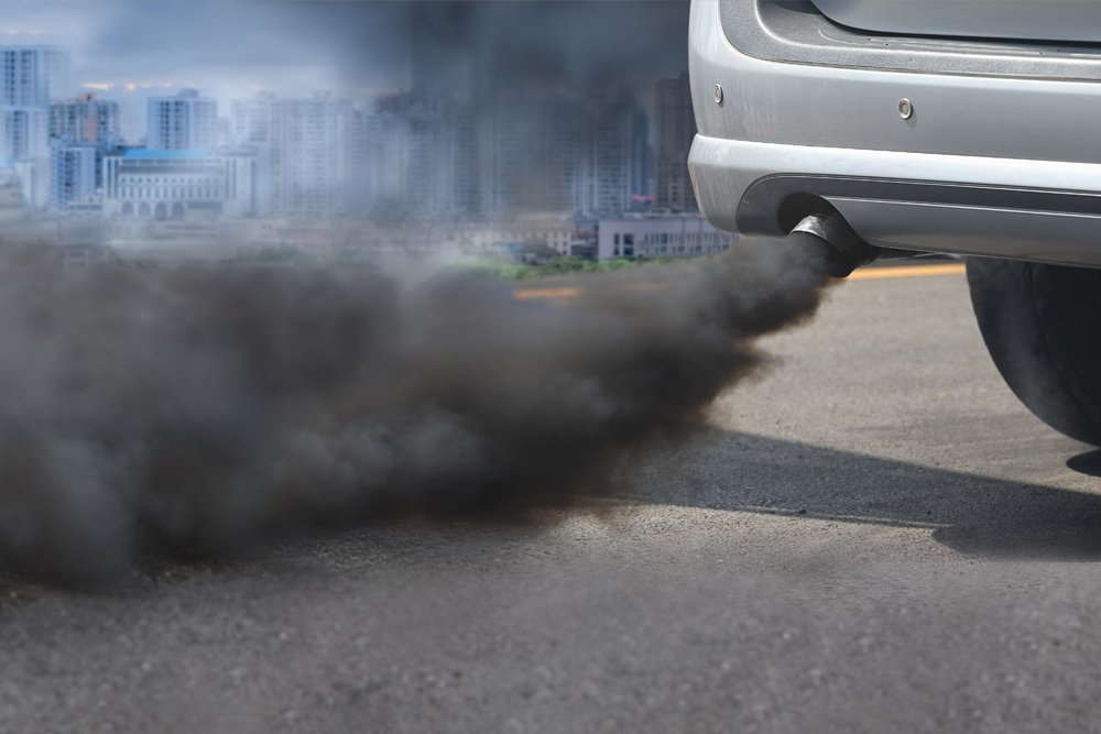 air pollution crisis in city from diesel vehicle exhaust pipe on road - Image(Toa55)s