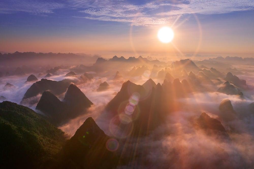 Aerial view of dawn on mountain at Ngoc Con ward, Trung Khanh town, Cao Bang province, Vietnam - Image( Nguyen Quang Ngoc Tonkin)s