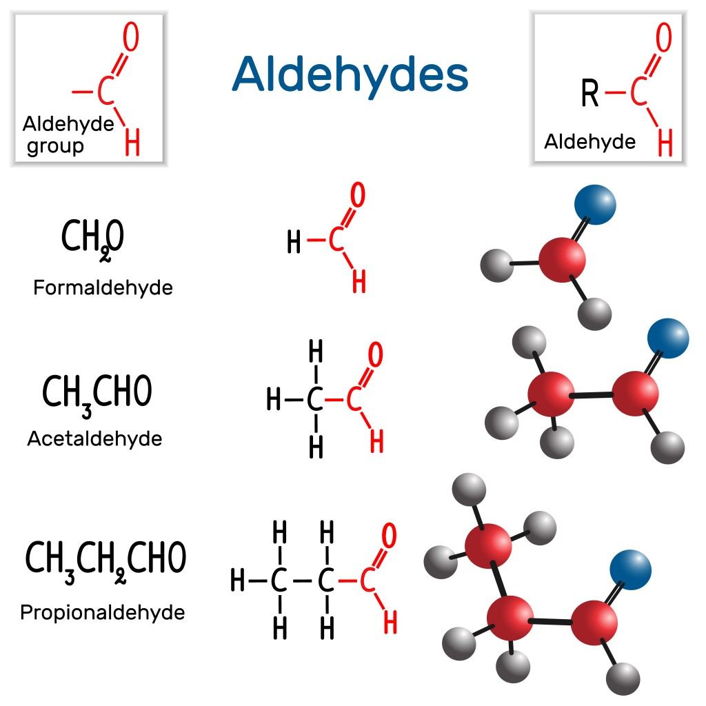 Aldehydes. Chemical formula and molecule model formaldehyde, acetaldehyde and propionaldehyde. Vector illustration - Vector(Bacsica)s