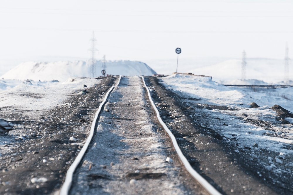 Deformation of the railway line, built in the permafrost. Polar tundra, Russia. - Image(Nordroden)s