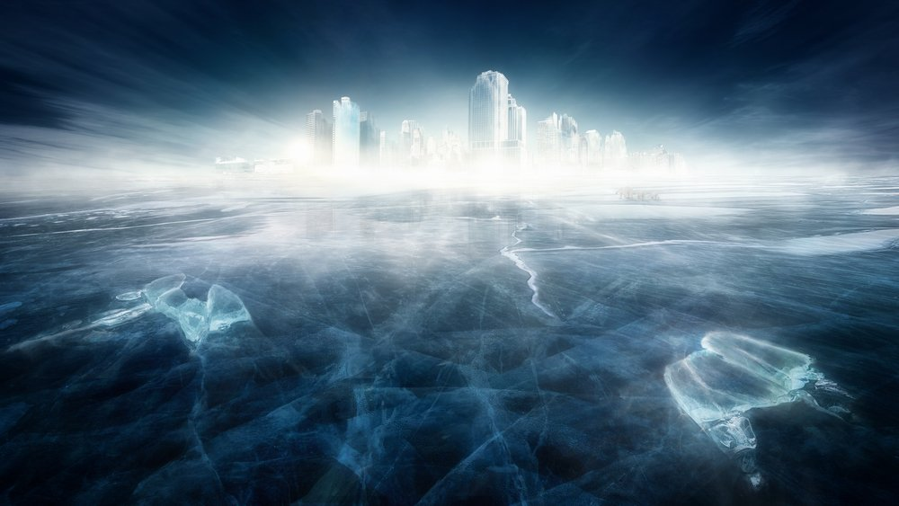Frozen city in icy landscape - Image(Jagoush)s