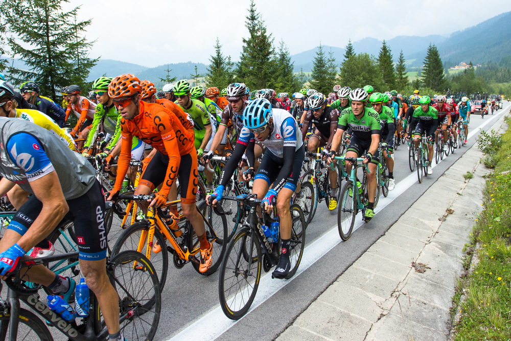 HUTY, SLOVAKIA - AUGUST 07, 2014 Professional cyclists peloton on tour - Image(tempisch)s