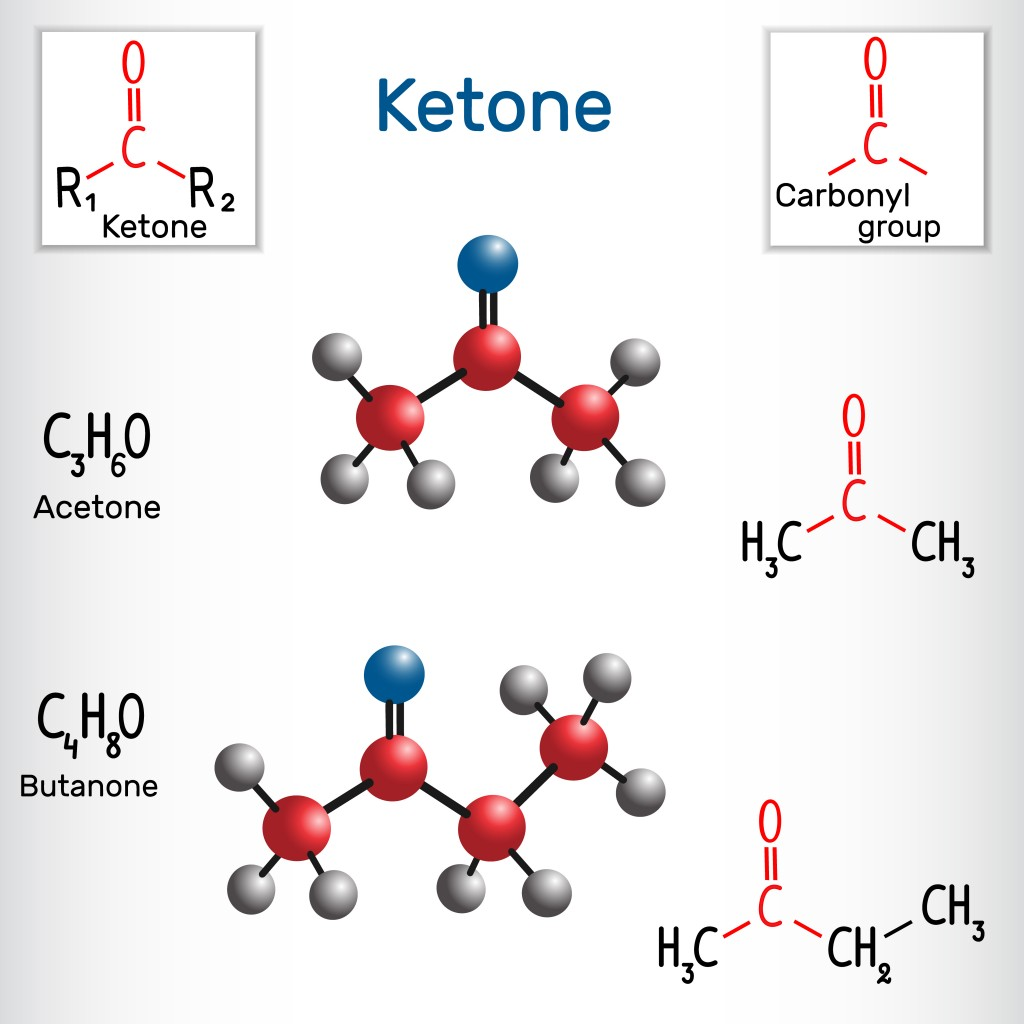 Ketone (alkanone). Acetone and butanone ( methyl ethyl ketone) molecule - structural chemical formula and model. Vector illustration - Vector(Bacsica)S