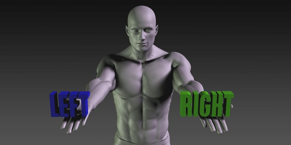 Left or Right as a Versus Choice of Different Belief 3D Illustration Render - Illustration(kentoh)S