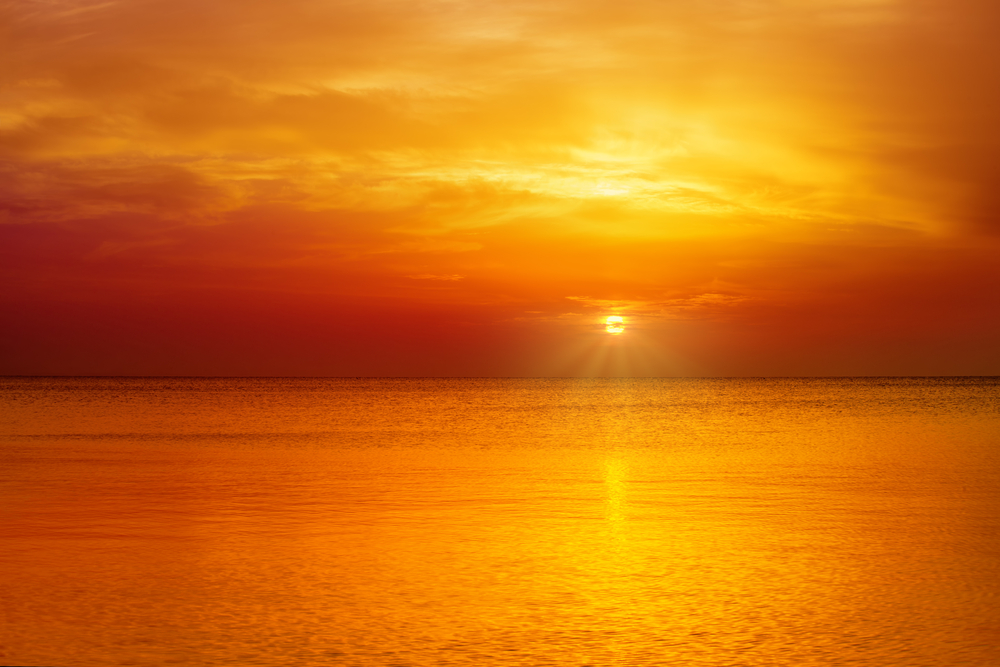 Magic orange sunset over sea - Image(vvvita)s