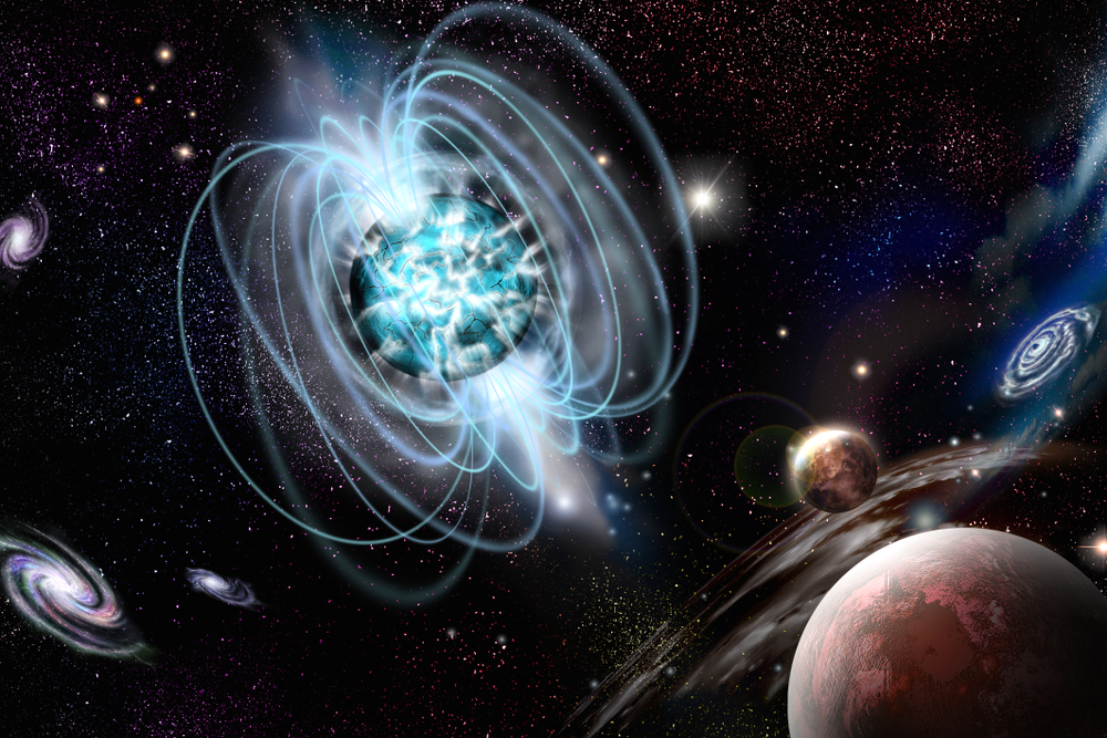 Magnetar neutron star with high magnetic field in a deep space. Artist's conception illustration - Illustration(orin)s