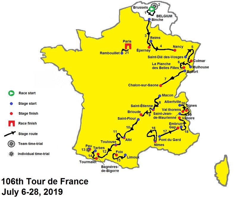 Route of the 2019 Tour de France