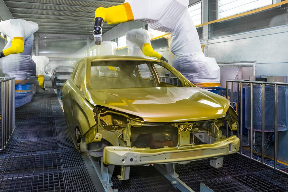 TOGLIATTI, RUSSIA - JUNE 09 Paint Shop B0 Platform. Robots painting body of LADA XRAY Car in Automobile Factory AVTOVAZ on June 09, 2015 in Togliatti - Image(Andrei Kholmov)s