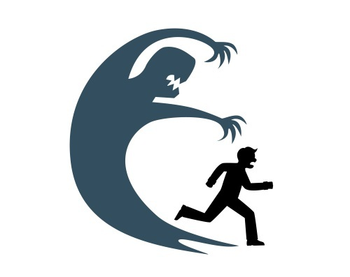 The silhouette of a man runs away from his huge shadow which symbolizes fear - Vector(SuslO)s
