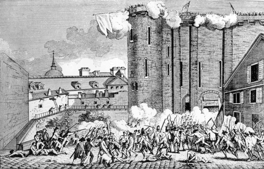 The storming of the Bastille, 1789. - Illustration(Everett Historical)s