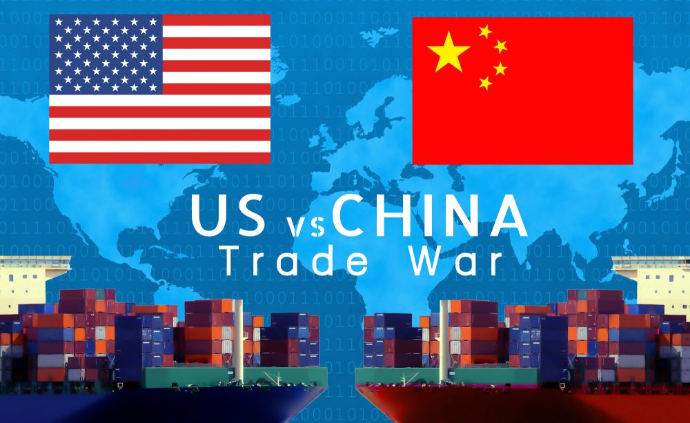USA-China-EU trade war, Economy conflict, US tariffs on exports to China and EU, Trade frictions - Image( Akarat Phasura)s