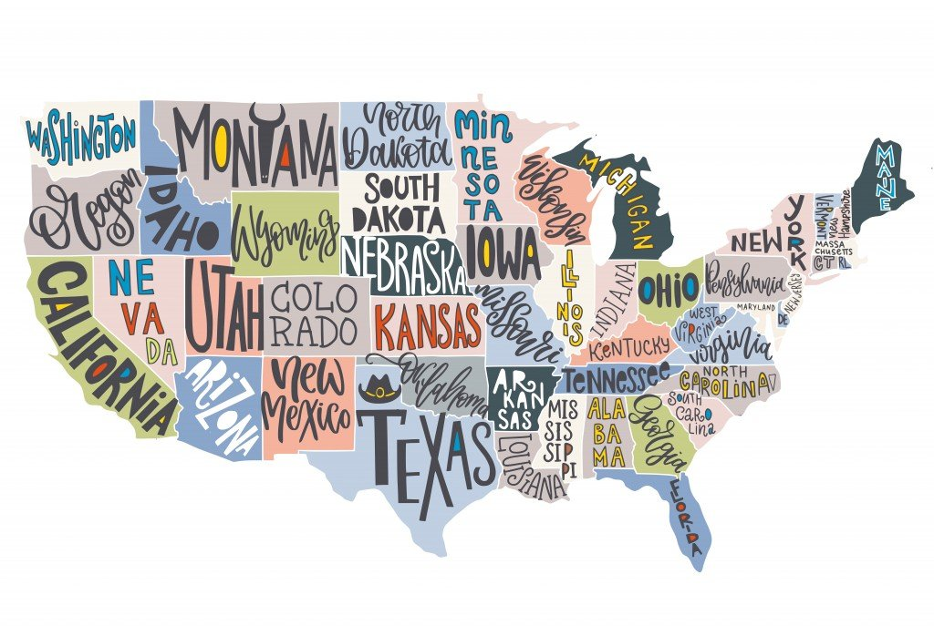 USA map with states - pictorial geographical poster of America, hand drawn lettering design for wall decoration, travel guide, print. Unique creative typography vector illustration. - Vector(KateChe)S