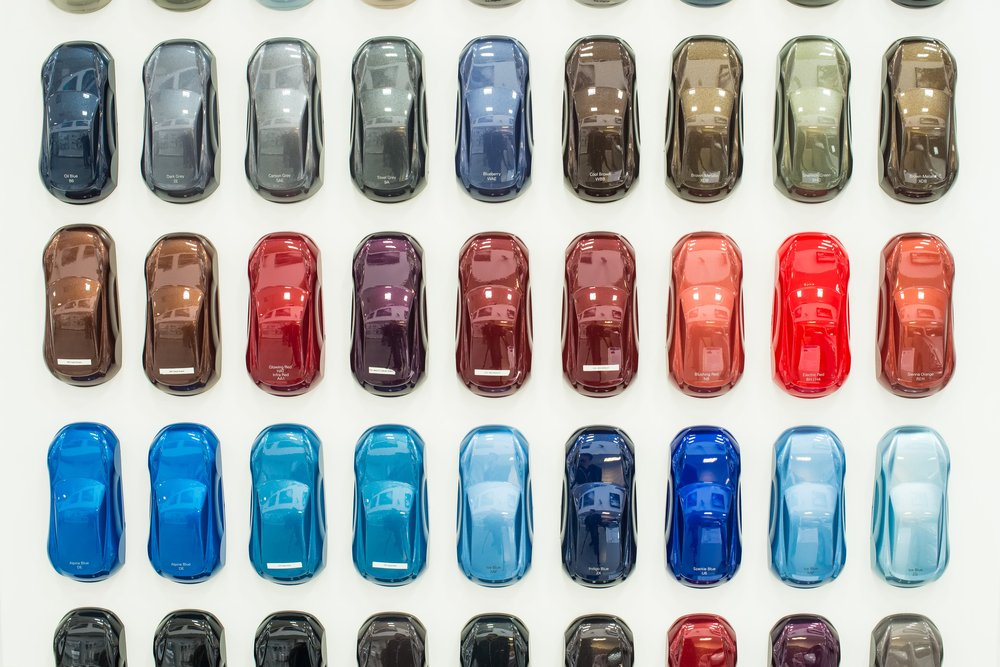 Various car metallic paint samples on stand - Image( Greentellect Studio)s