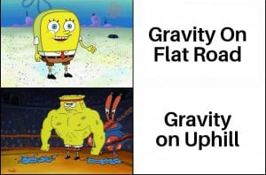gravity on flat road meme