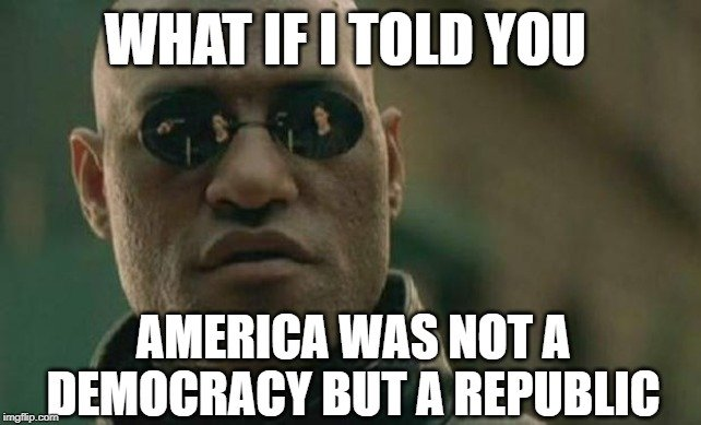 america was not a democracy but a republic meme