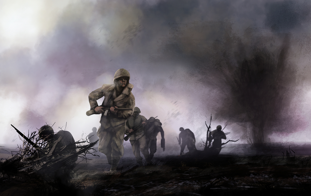American soldiers on battlefield. WW2 illustration of american soldiers platoon attacking on a battlefield with explosions and mist background. - Illustration(breakermaximus)s