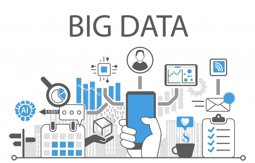 Big data infographic vector illustration with hand holding smartphone - Vector( a-image)s
