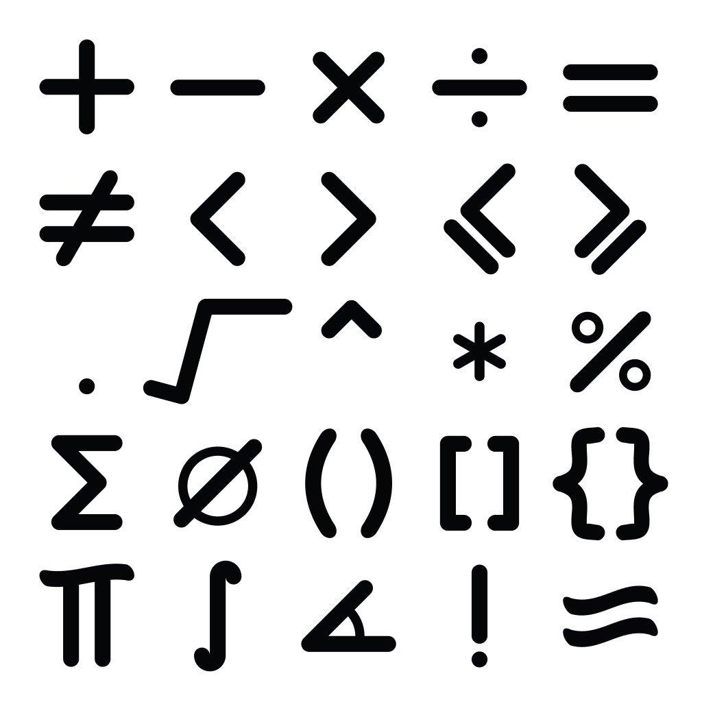 Black mathematical symbol icon set on white background - Vector(Bankrx)s