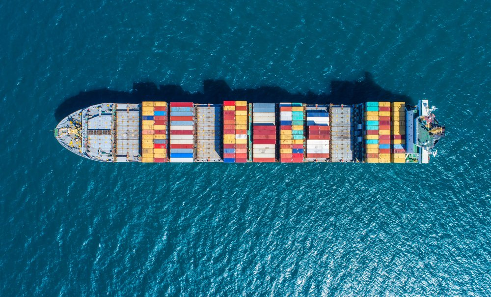 Container ship in export and import business and logistics(MAGNIFIER)S