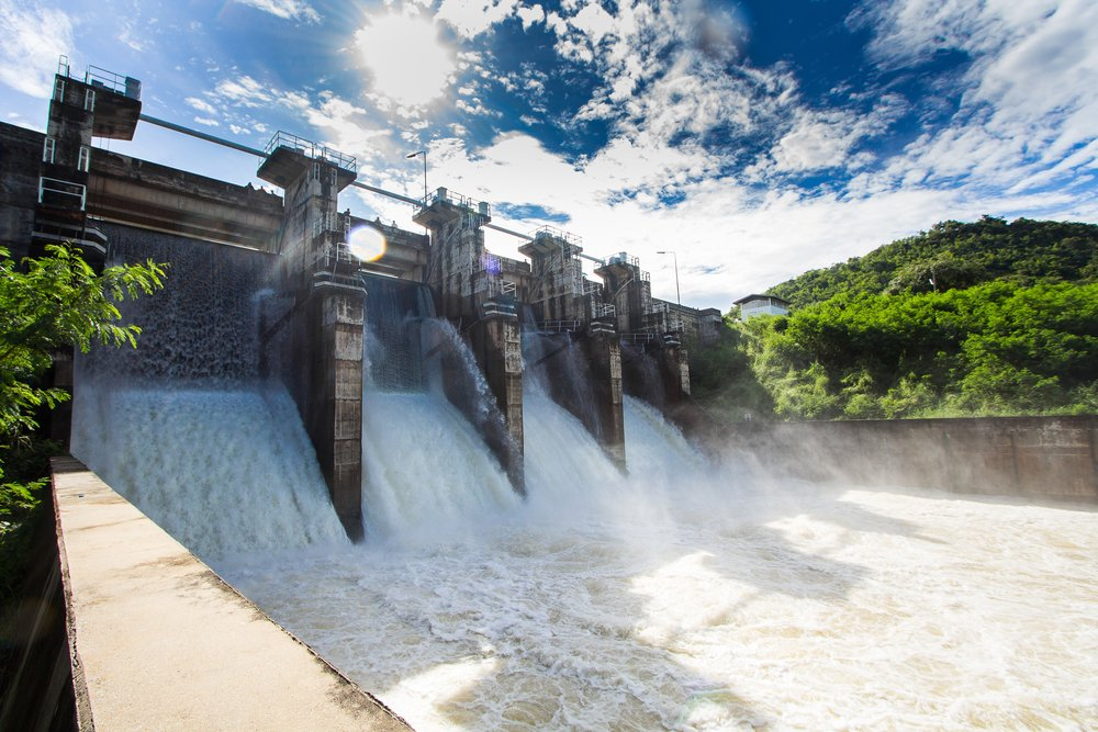 Dam water release,The excess capacity of the dam until spring-way overflows. - Image(NaMo Stock)s