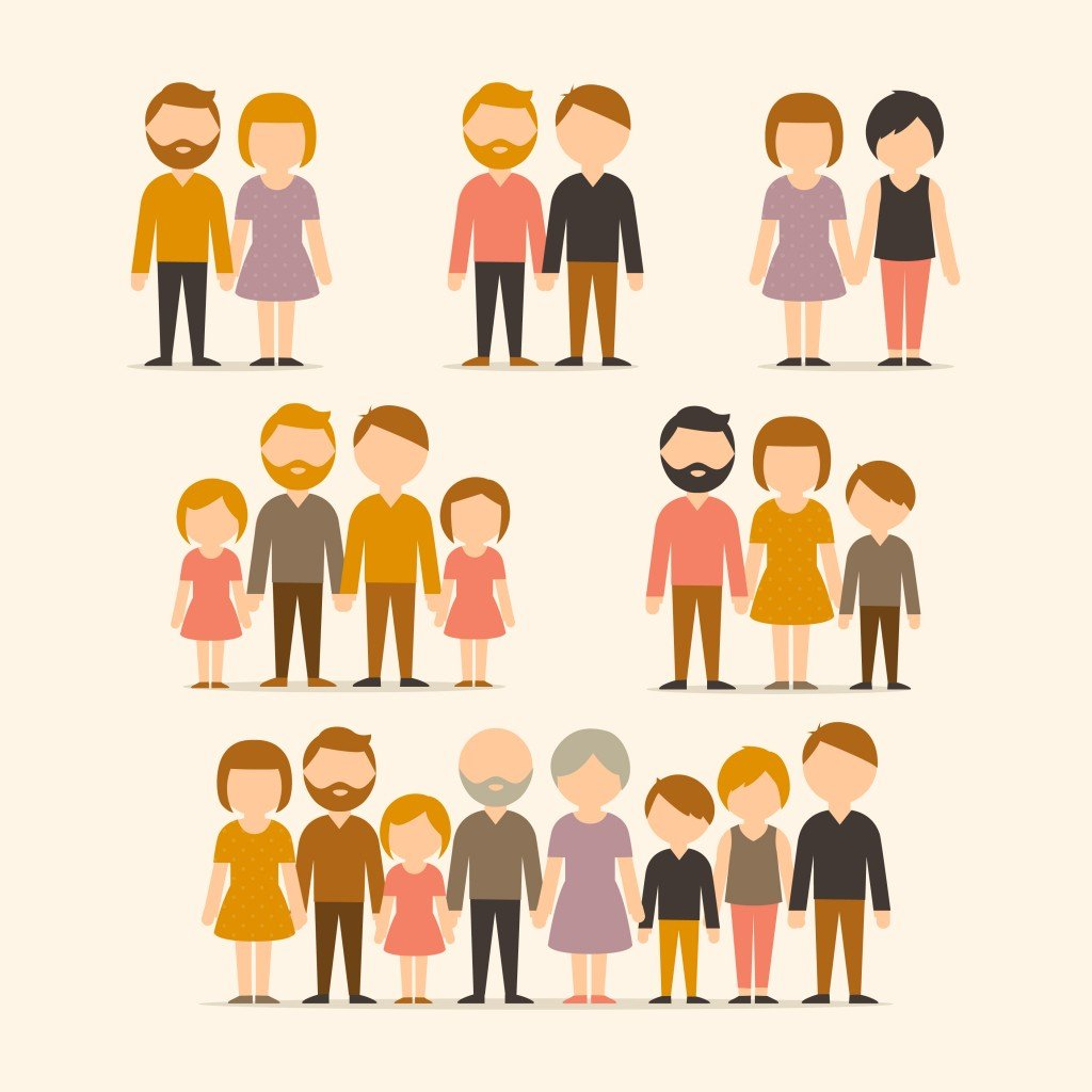 Different types of families. Set vector - Vector(TaLyDes)s