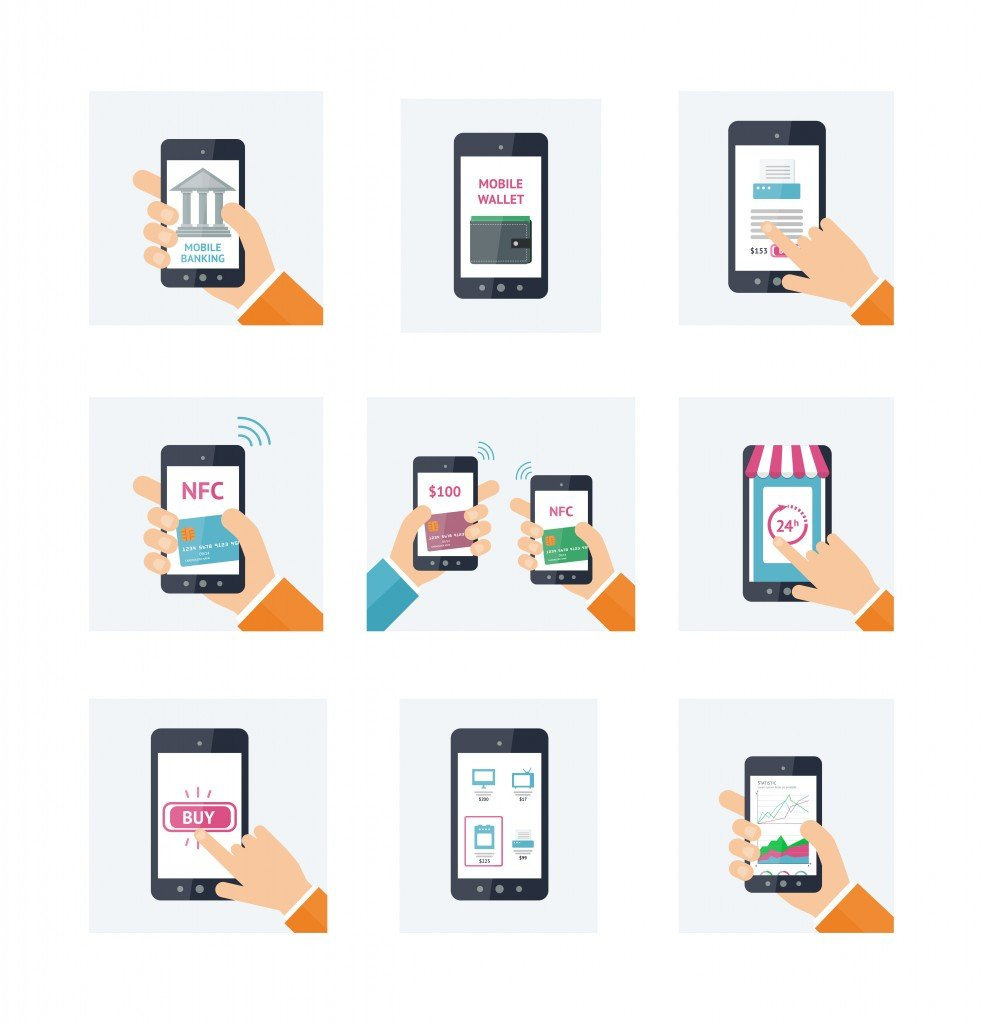Flat icons set with mobile technology, online shopping, web wallet, nfc, online banking concept( Voin_Sveta)s