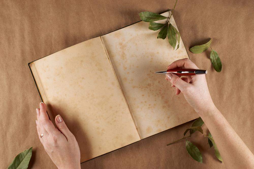 Flat look of women's hands, writes poems . Place for text. - Image(garik_koen)s
