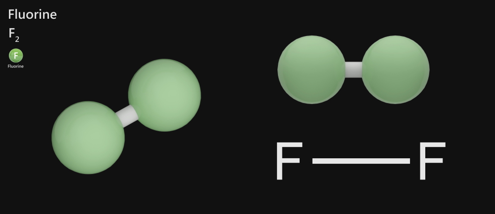 Fluorine is a chemical element with symbol F and atomic number 9. F2. 3D illustration(Orange Deer studio)s