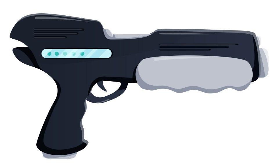 Futuristic Gun Vector Illustrator. Weapon flat icon(VectorKnight)s