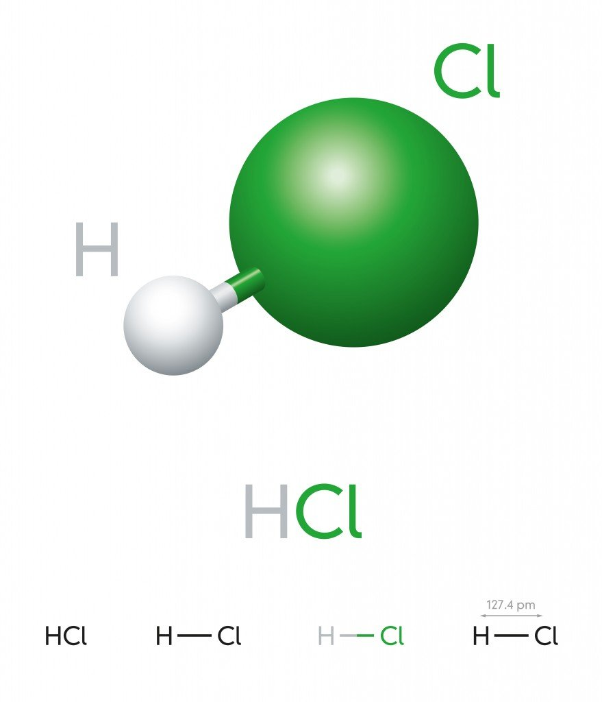 HCl. Hydrogen chloride. Molecule model, chemical formula( Peter Hermes Furian)s