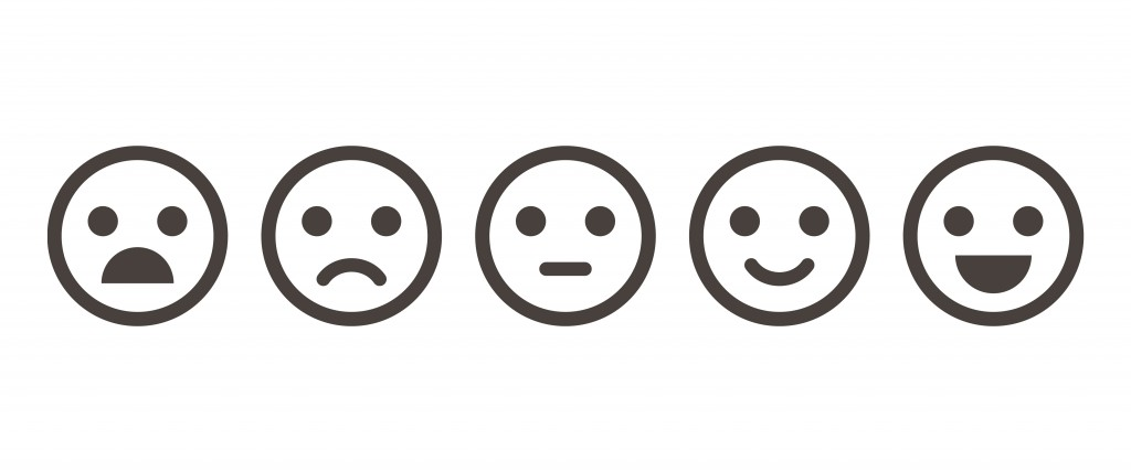 Iconic illustration of satisfaction level. Range to assess the emotions of your content( Lyudmyla Kharlamova)s