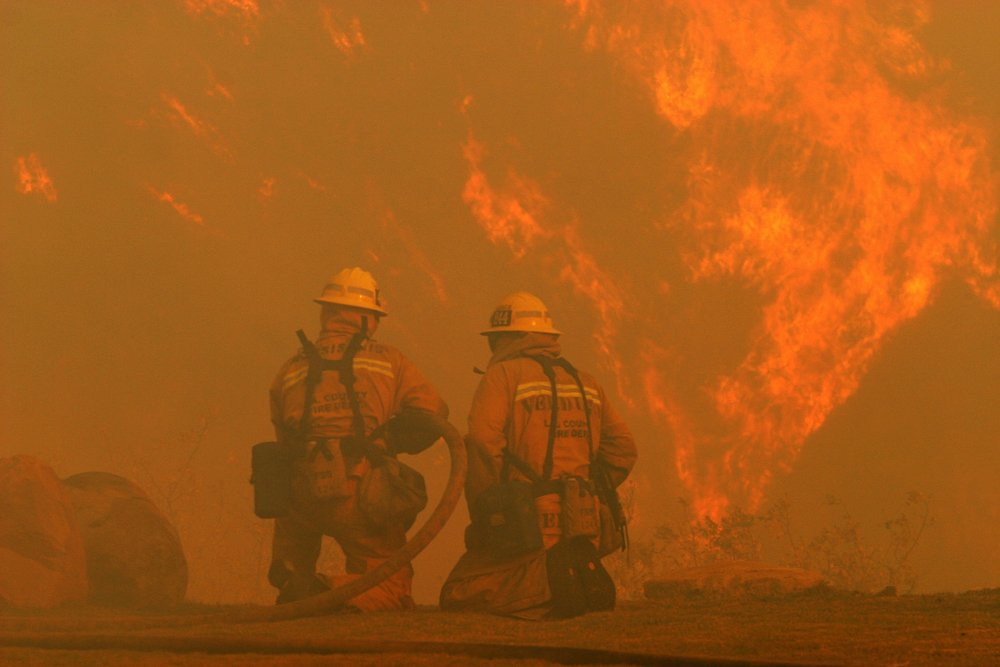 Los Angeles, CaliforniaUSA - Nov 15, 2008 - Los Angeles County firefighters fight the Sayre Fire burning in the Granada Hills section of Los Angeles. - Image(Krista Kennell)s