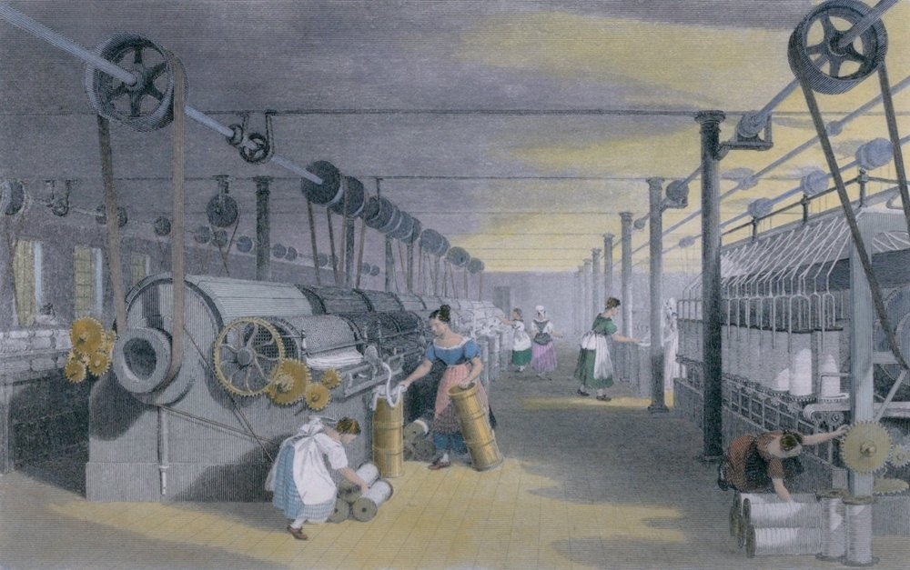 Machines making cotton thread by performing mechanical versions of carding drawing(Everett Historical)S
