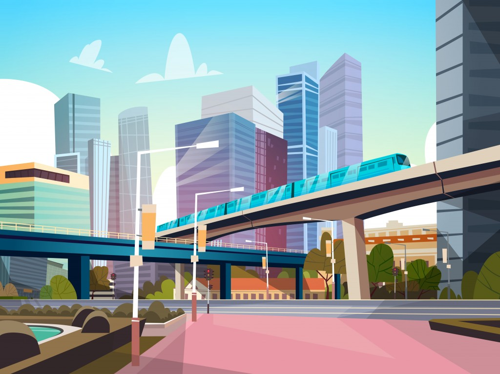 Modern City Panorama With High Skyscrapers And Subway Cityscape Background Flat Vector Illustration - Vector(ProStockStudio)s