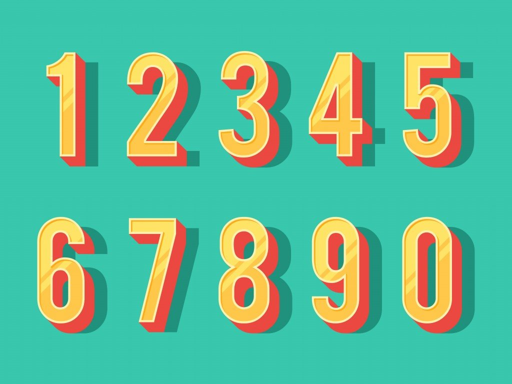 Numbers colourful set in vintage style. Vector elements illustration template for web design or greeting card - Vector(EgudinKa)S