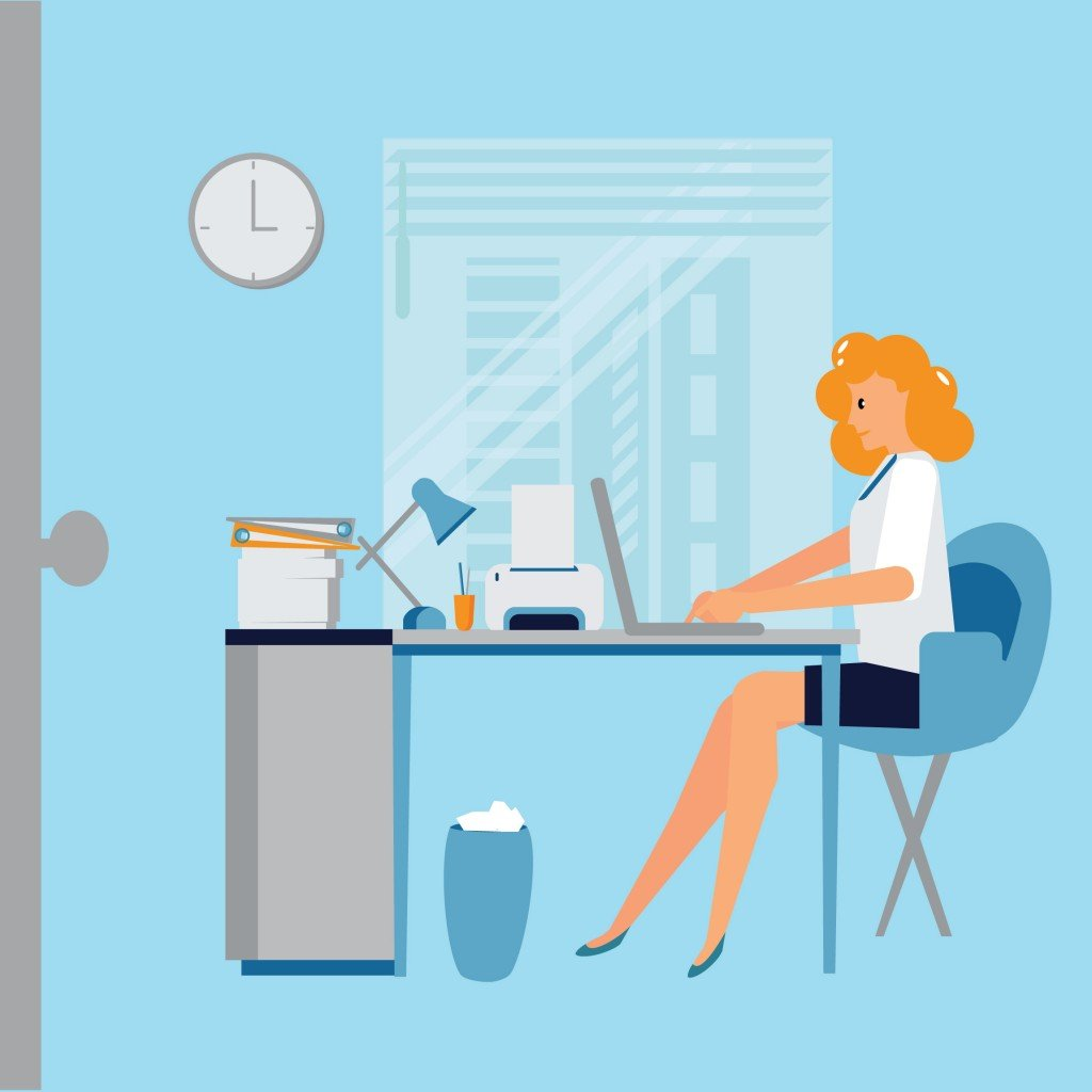 Office life. Woman works at office. - Vector( Viktoria Bykova)s