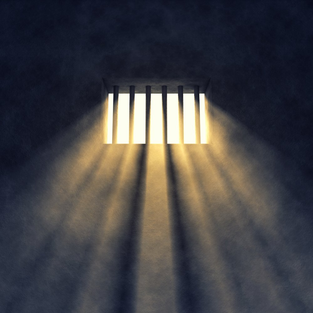 Prison cell interior , sunrays coming through a barred window - Illustration(nobeastsofierce)S