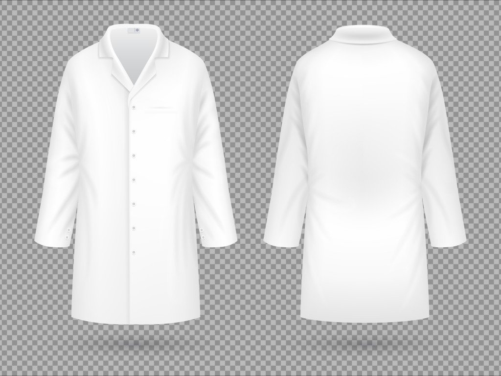 Realistic white medical lab coat, hospital professional suit vector template isolated(MicroOne)s
