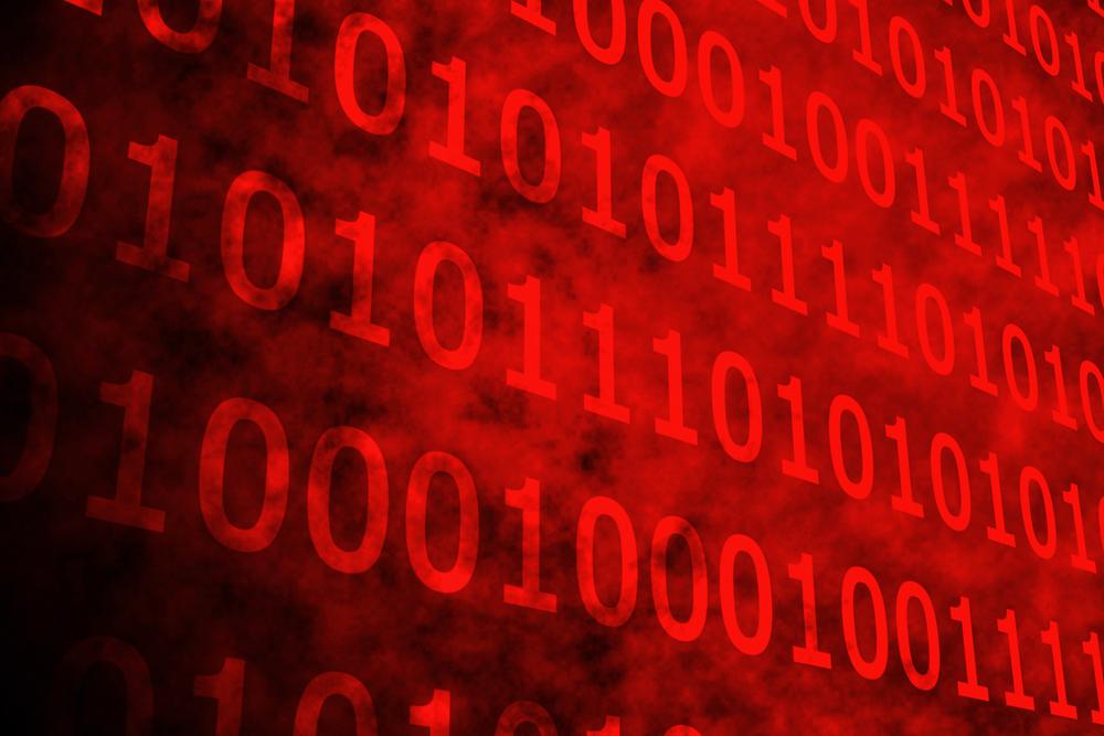 Shiny red binary code on black background - Illustration(Shiny red binary code on black background -Illustration(wavebreakmedia)s