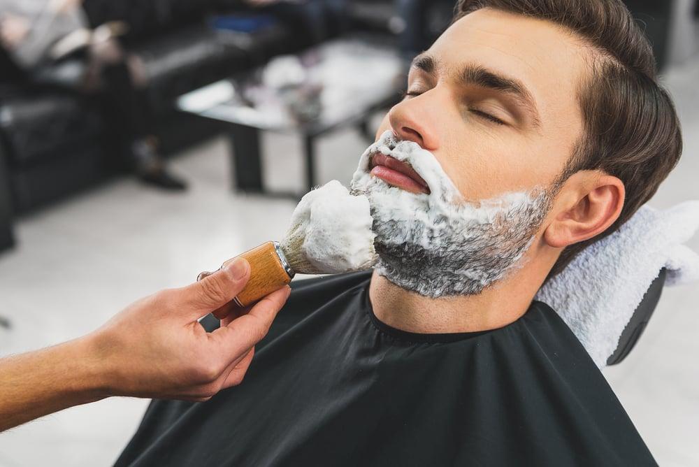 Skillful beautician preparing to shave stubble - Image( Olena Yakobchuk)s