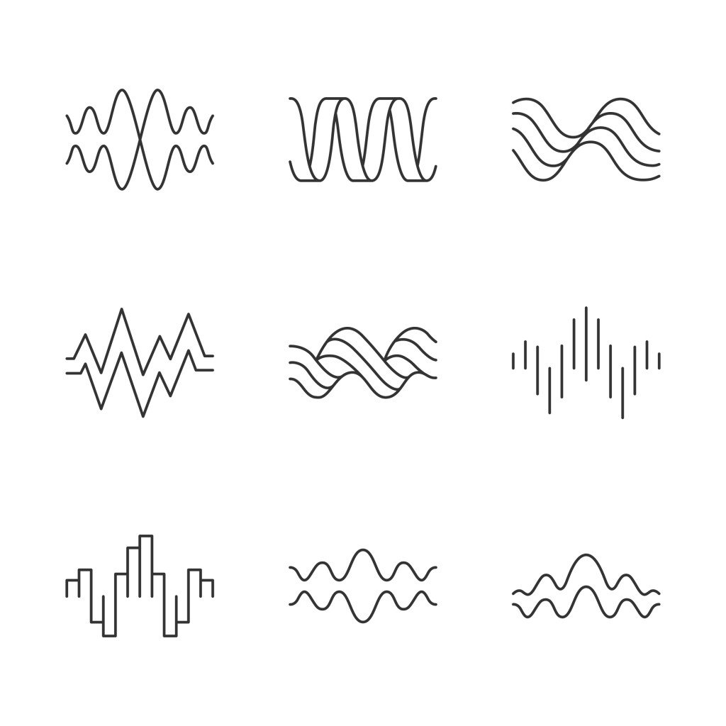 Sound waves linear icons set. Music rhythm, heart pulse. Audio waves, sound recording and signals(bsd)s