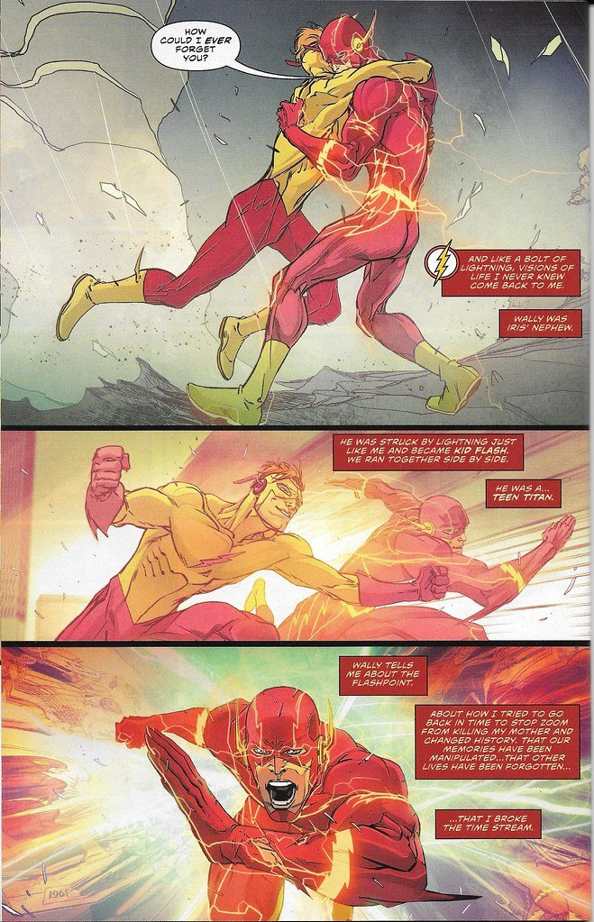 The Flash, Rebirth#1 depicting The Flash (Barry Allen) in red and Kid flash (Wally West) in yellow, running side by side while conversing.