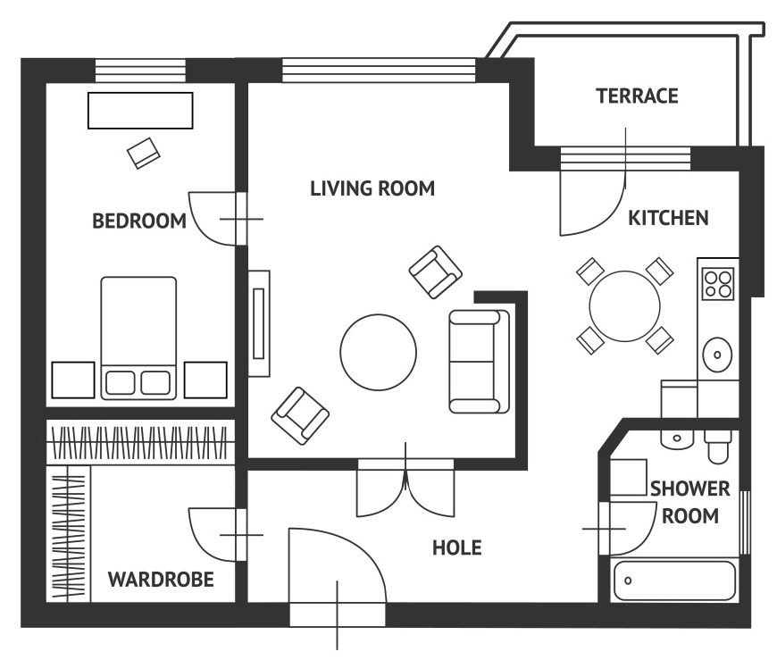Vector illustration. Architect plan of house with a furniture. Flat Design - Vector( M.Stasy)S