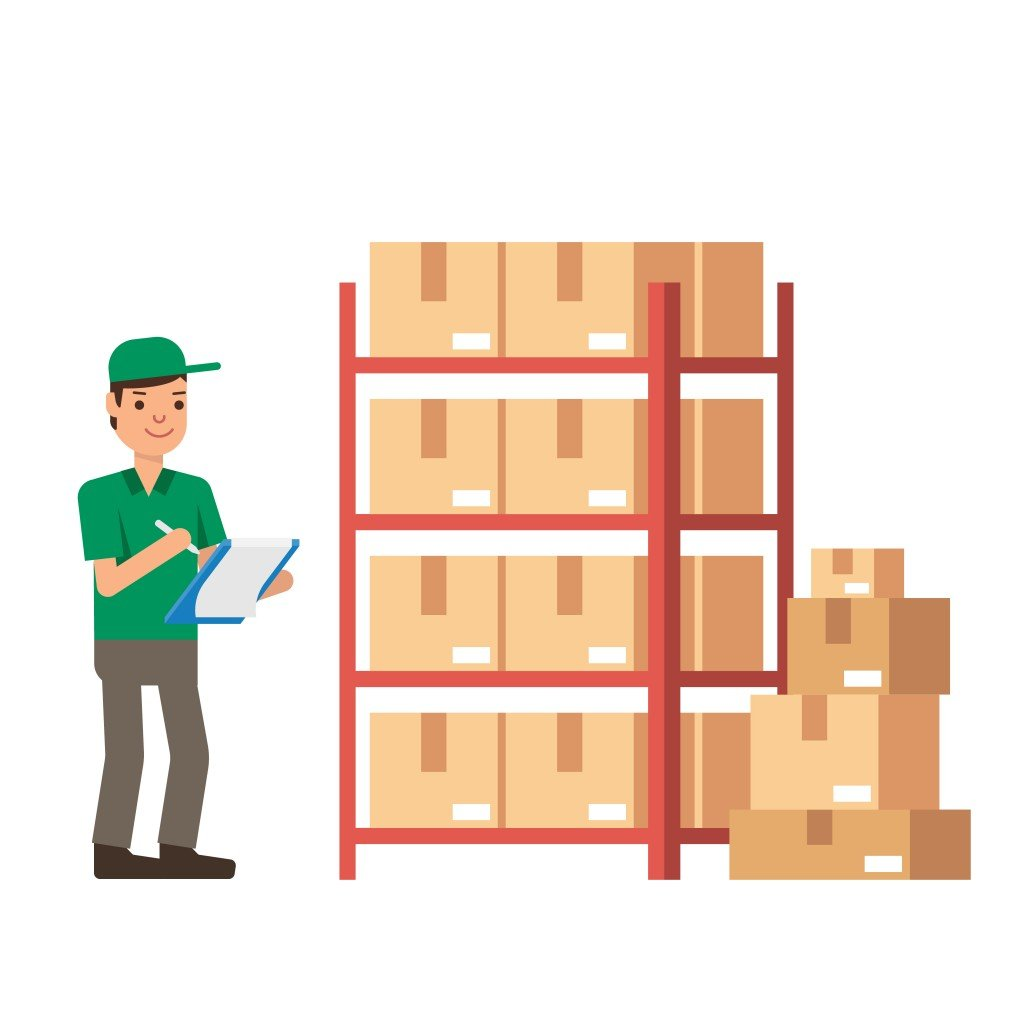 Warehouse Inventory and delivery workers Modern flat style vector illustration isolated on white background - Vector(nanmulti)S
