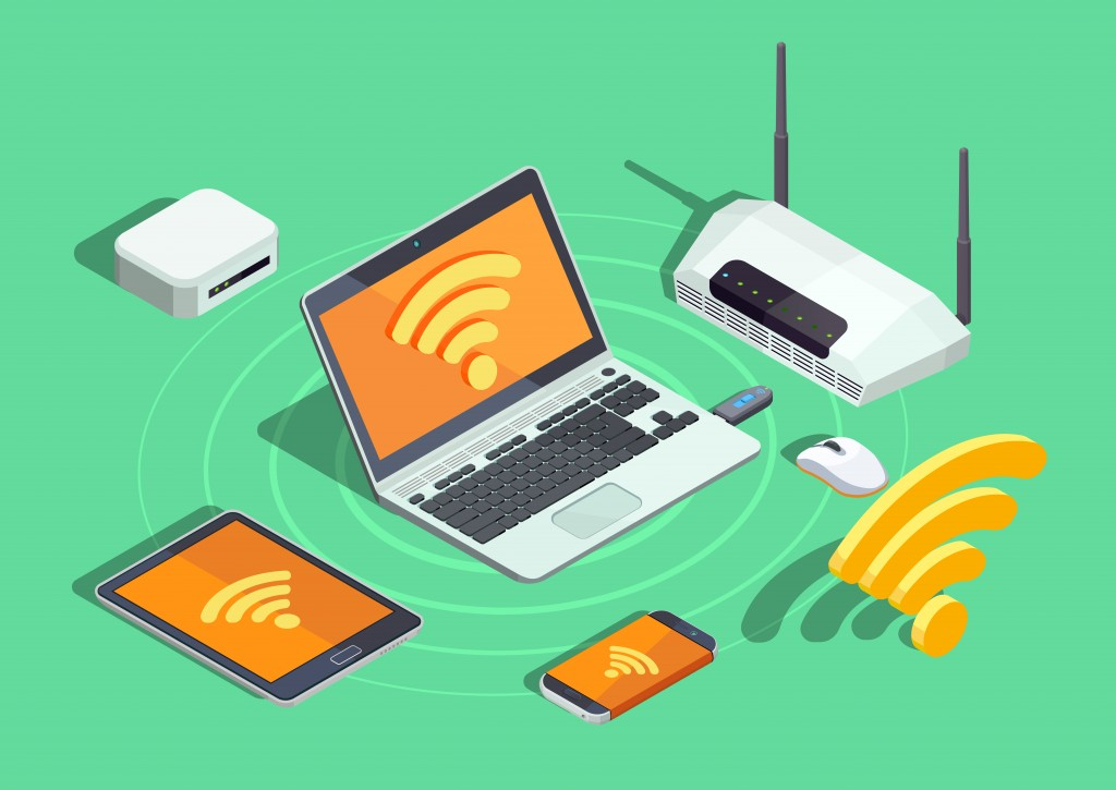 Wireless technology devices isometric poster with laptop printer smartphone router and wifi internet connection symbol vector illustration(Macrovector)s