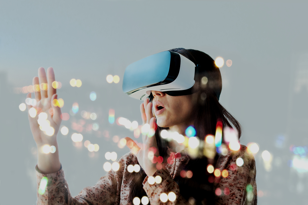 Woman with glasses of virtual reality. Future technology concept. - Image(franz12)s