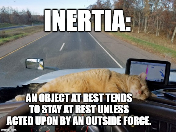 an object at rest tends to stay at rest unless acted upon by an outside force meme