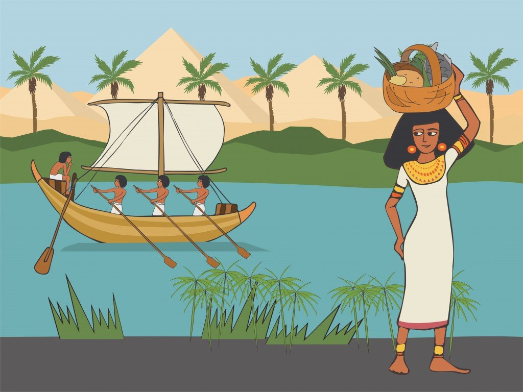 everyday life in Anicient Egypt, cartoon woman in historical clothing style with food basket on her head at pyramids and Nile river background - Vector(Olga Kuevda)s