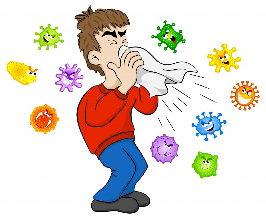 vector illustration of a sneezing man with germs - Vector(AntiMartina)s